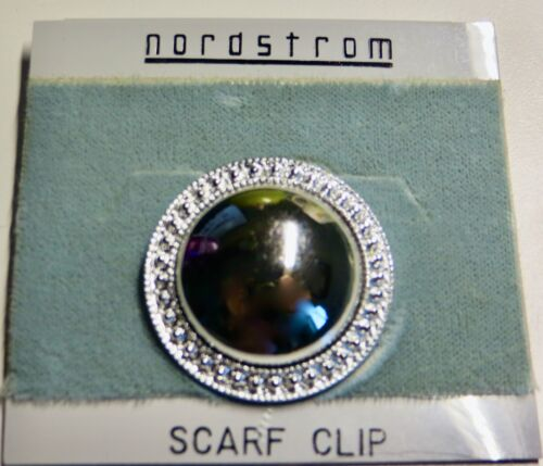 NWT Vintage Nordstrom Silver Tone Round Scarf Clip NEW NOS