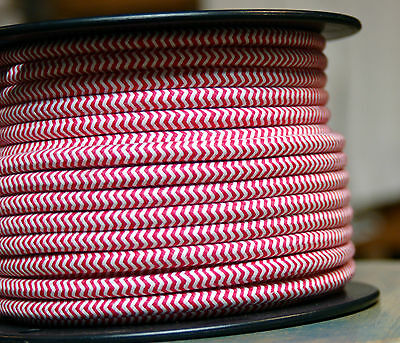 ZigZag Red/White Cloth Covered 3-Wire Round Cord, 18ga. Vtg Lamps Antique Lights