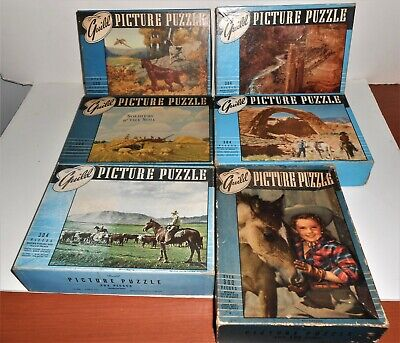 LOT 6 VINTAGE 1940'S JIGSAW GUILD PICTURE PUZZLES  LANDSCAPES HORSES