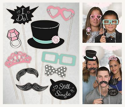Wedding Photo Props | Photo Booth | Party | Top Hat | Ring | 10 Props 1-5pk