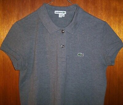 WOMENS LACOSTE S/S GRAY POLO SHIRT SIZE 36 (S)