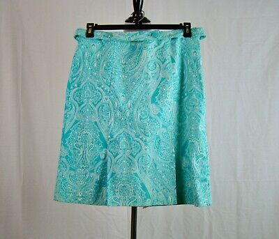 Talbots Turquoise White Paisley Print Belted Side Zip Pleated Skirt - Size 8