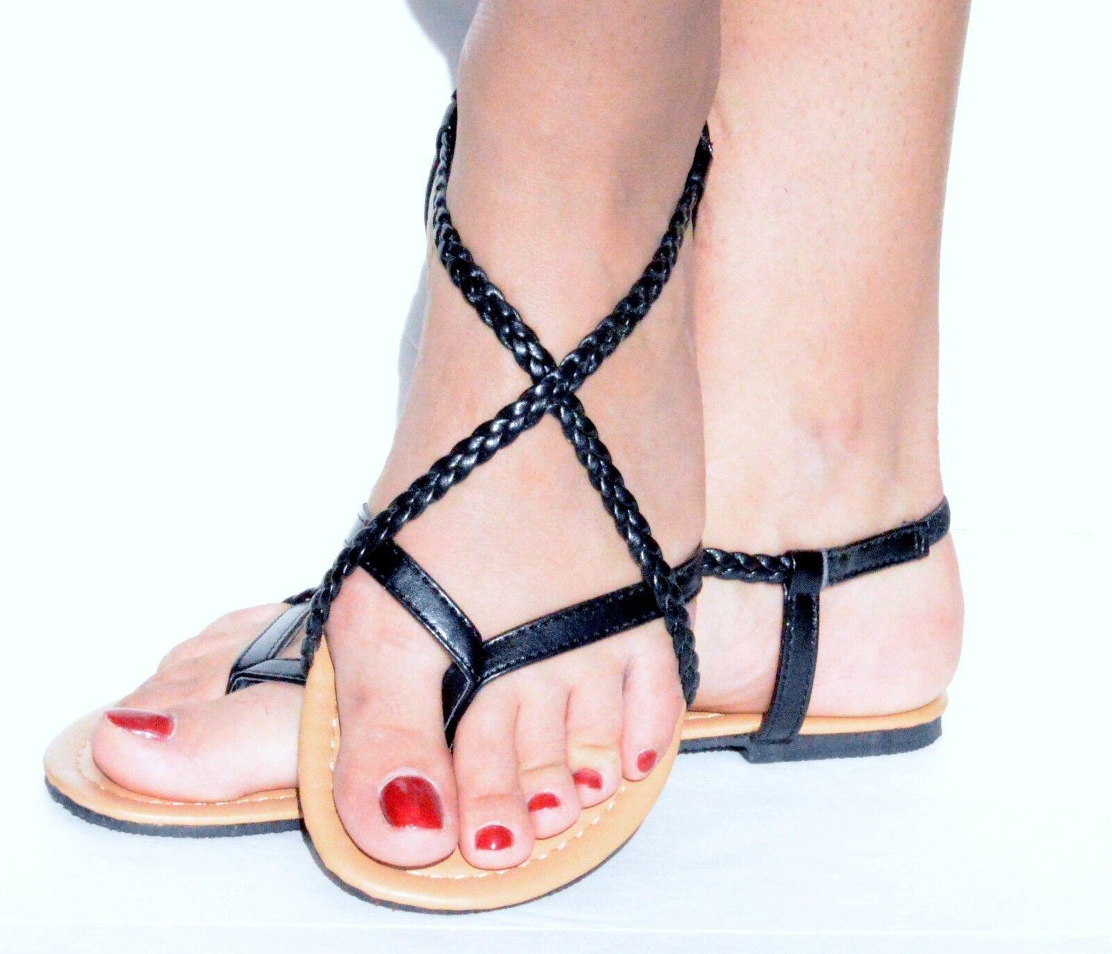 Women's Braided Gladiator Flat Sandal Y-strap Thong Flip Flops Style