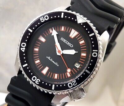 Seiko Black Red Starburst Submariner Automatic Divers Date Watch Custom 7002