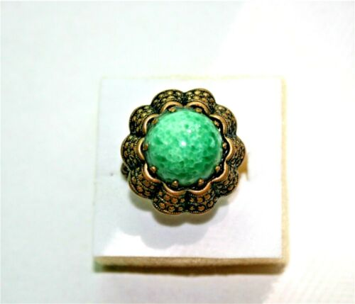 Antique Signed Green Peking Glass & Brass Adjustable Ring Made in West Germany