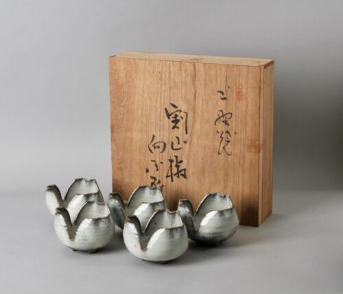 Beautiful flower shape  Japanese Agano Yaki  dish 5pcs set with signed box EE76