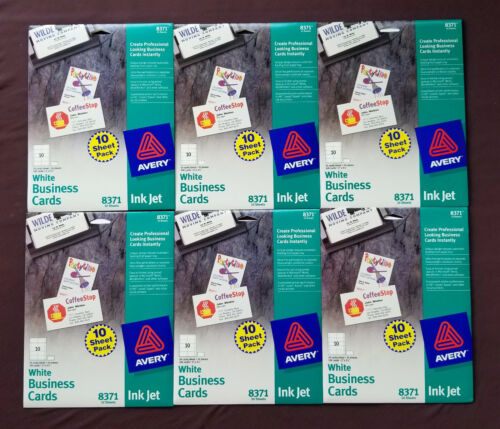 600 Avery 8371 White Business Cards Ink Jet 100 Cards per package New and Sealed