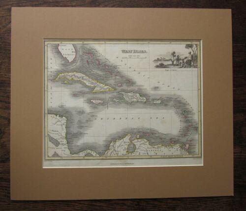 c1820 West Indies Thomson Wyld Britannia Slaves Vignette Caribbean Antique Map