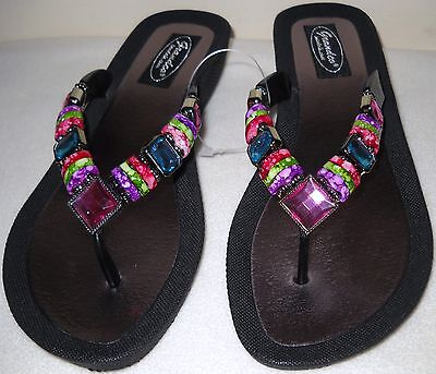 GRANDCO SANDALS Beach Pool THONG BLING Black Frosted & JEWELED DRESSY Flip Flops - Dressy Flip Flops