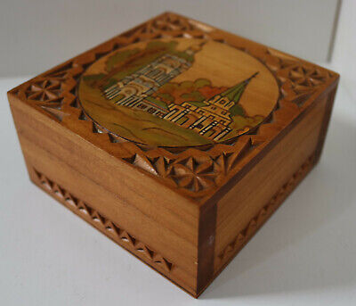 VINTAGE HAND MADE MARQUETRY WOODEN BOX ANTIQUE TRINKET JEWELLERY CARVED CHEST 16