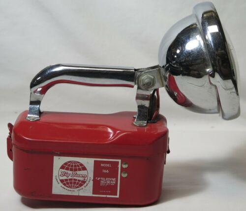 VIntage Teledyne Big Beam Model 116 Hand Lantern Flashlight Red Steel Chrome