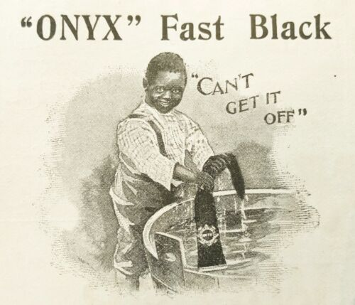 "1897""ONYX""FAST BLACK Vtg Hosiery Print Ad~Boy Washing Stocking""CAN"