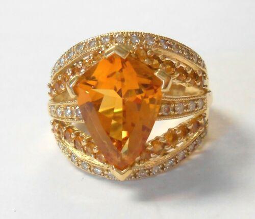 Lrg 14x10 Citrine & Diamonds 14K Yellow Gold Ladies Cocktail Ring Size 7.5