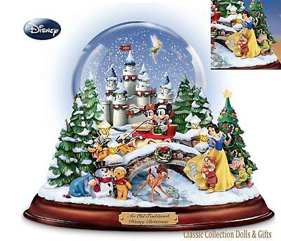 "BRADFORD EXCHANGE ""AN OLD FASHIONED DISNEY CHRISTMAS"" SNOWGLOBE- MUSICAL -NEW !"