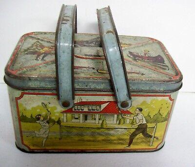 Vintage TIN Lunch Box Pail  20's Train Ice Skating Canoe Ladies Basketball Car