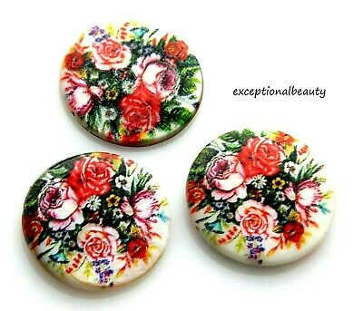 10 Victorian Rose Roses Print Mother Of Pearl MOP Flat 25mm Round Shell Beads