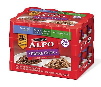 24 Cans Purina Alpo 13.2 oz Wet Dog Food Prime Cuts in Gravy Variety Pack Case