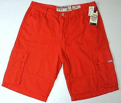 AKOO Brand Cargo Shorts Mens Size Red Fast Shipping 753-0100
