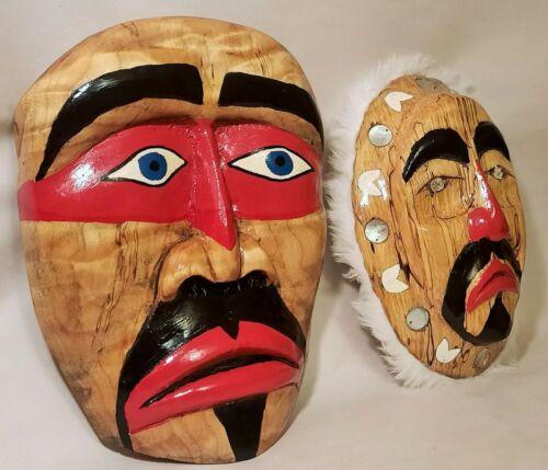 S'Klallam 2 MASK vtg PNW native american indian wood carving puget sound seattle