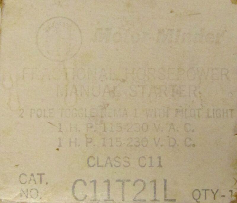 ITE Motor Minder Manual Starter 2 Pole 1 HP C11T21L