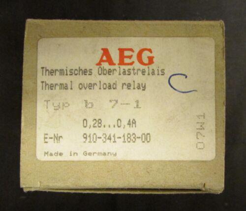 AEG B7-1 Overload Relay .28-.4 Amp E NR 910 341 183 00