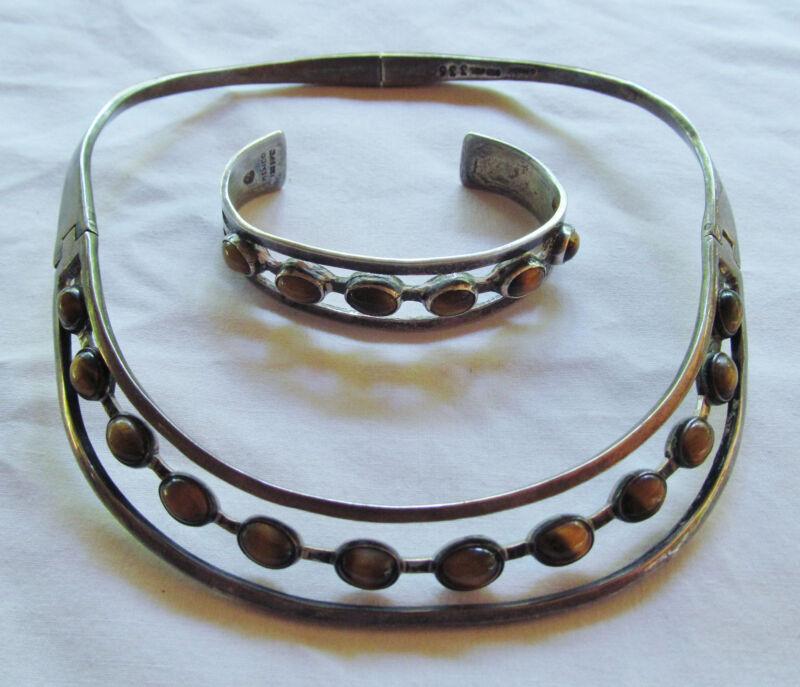 Sterling Silver Tiger Eye JGL Collar Choker w/Matching CFC Bracelet 100+ Grams