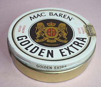 MAC BAREN TIN/CAN  - PIPE TOBACCO  GOLDEN EXTRA 100 G.STAMP - DENMARK VTG. for sale  Walhalla