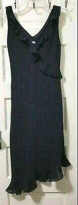 VTG Breakin Loose LONG Ruffle Dress 3 4 S Small JET BLACK Asymmetrical Lined