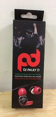 DJ Pauly D Stereo Earbuds with Built In Mic Red New Free Shipping