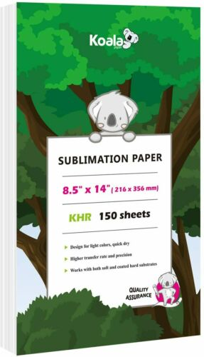 Koala 150 Sheets 8.5x14 Dye Sublimation Ink Heat Transfer Paper Cotton Poly Mugs