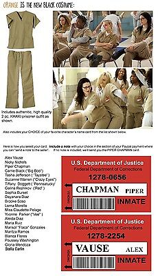Womens Orange Prisoner Costume (KHAKI Orange is the New Black WOMENS PRISON 2pc COSTUME cosplay Inmate)