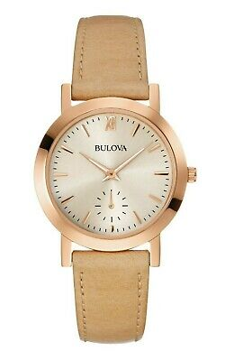 Bulova Classic Women's Quartz Grey Dial Beige Leather Strap 32mm Watch 97L146