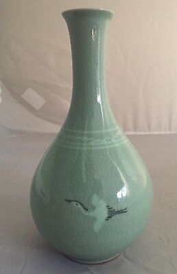 Korea Green Celadon Porcelain Crane Bird Crackle Glaze Bottle Vase SIGNED