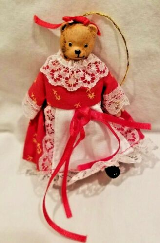 Victorian Porcelain Bear Christmas Ornament Sweet VINTAGE 4""