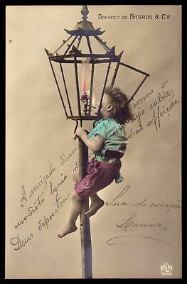 EDWARDIAN CHILD barefoot smoke light Oil Lamp. Set 2 Old PHOTO postcard 1910s.