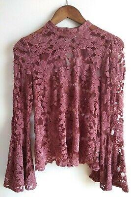 SWEET Anthropologie AKEMI & Kin Women's Lace Mauve/Pink Long Bell Sleeve Top ~ 2