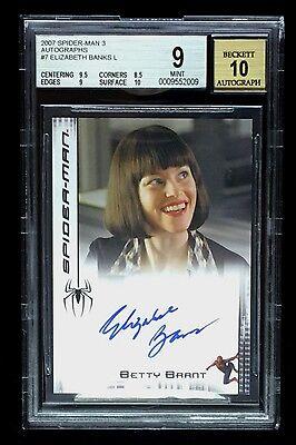 ELIZABETH BANKS 2007 SPIDER-MAN  BGS 9 MINT & 10 AUTOGRAPH SIGNATURE CARD