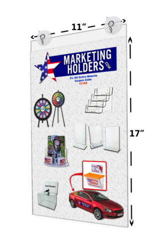"11""W x 17""H Window Ad Frame Window Sign Holder w/ 2 Suction Cups w/ Hooks"