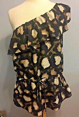 NWT New York & Company Women's XL One Shoulder Animal Print Blouse Tie Waist Top