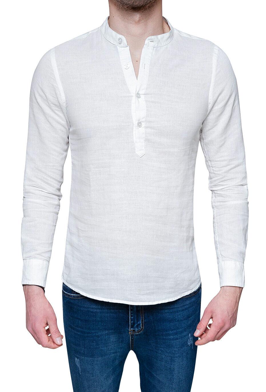 48efd7ac4d Diamond camicia di lino uomo Serafino estiva bianca casual collo alla  coreana. >