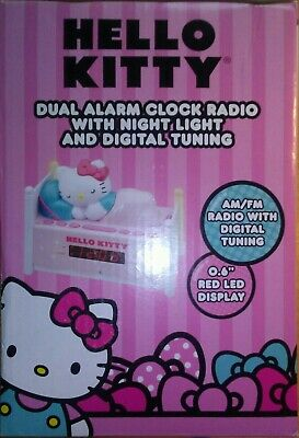 HELLO KITTY Alarm Clock~Dual Alarm Clock Radio w/ Night Light & Digital Tuning