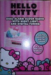 HELLO KITTY Alarm Clock~Dual Alarm Clock Radio w/ Night Light & Digital Tuning