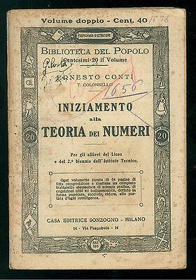 CONTI ERNESTO INIZIAMENTO ALLA TEORIA NUMERI SONZOGNO BIBLIOTECA DEL POPOLO 588