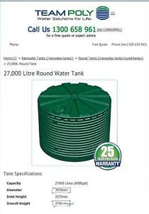 27,000 litre poly water tank