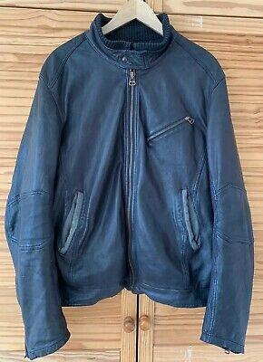 HUGO BOSS leather mens smart jacket size EU 54 UK XXL 2XL black