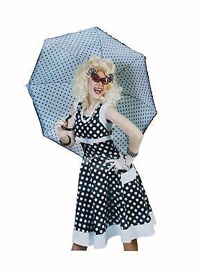 Kleid Fifties 1tlg Rock'n Roll Kostüm Punkte schwarz weiss 50er Jahre Gr 38 40