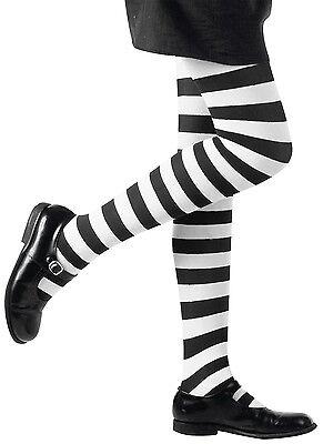 Kinder-Strumpfhose schwarz-weiß-gestreift NEU - Zubehör Accessoire Karneval Fasc