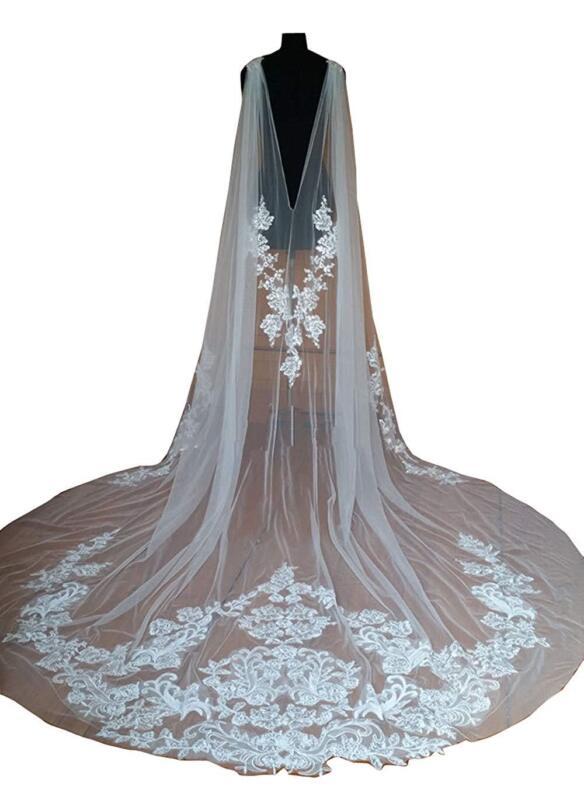 Wedding Capes Lace Bridal Veils Appliques Bride Wraps Cathedral Length Cloak