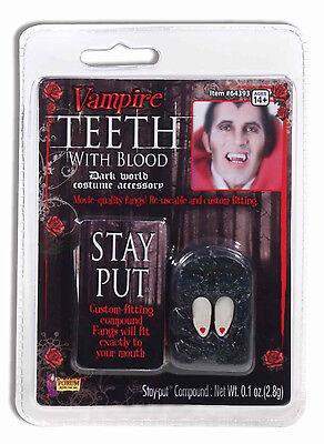 CUSTOM FITTING VAMPIRE TEETH FANGS WITH BLOOD DROPS HALLOWEEN COSTUME - Vampire Teeth With Blood