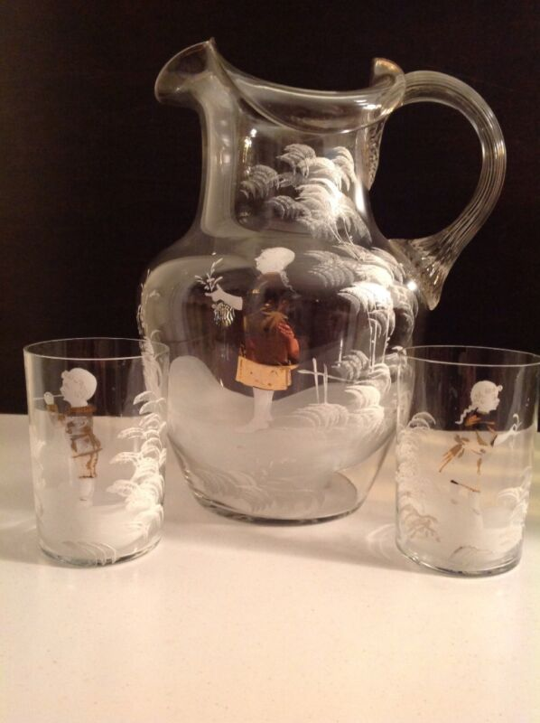 Beautiful Antique Mary Gregory Hand Painted Glass Pitcher and Two Tumblers